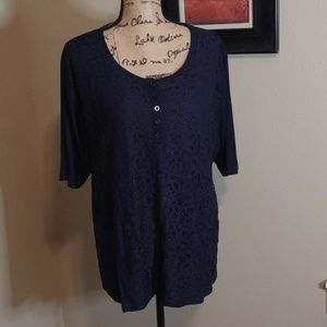 Navy Blue Lace front Tee